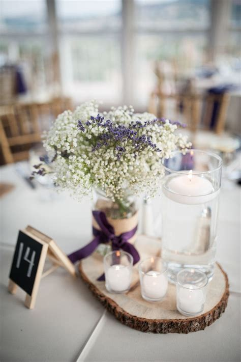 lavender and baby's breath centerpiece   Google Search