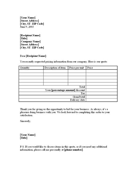 Letter With Price Quote On Goods For Existing Customer Letter Formate Quote Template Customer Estimate Templates