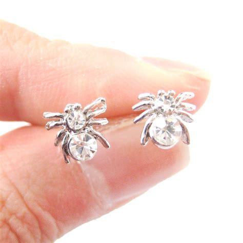 Spider Stud Earrings small tarantula spider insect shaped rhinestones stud