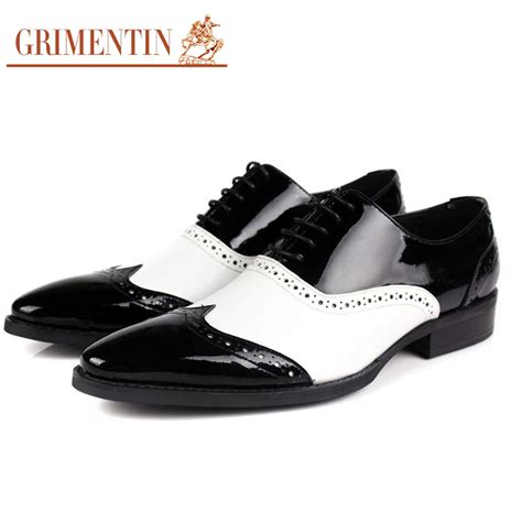 black and white mens oxford shoes grimentin black and white oxford shoes genuine leather