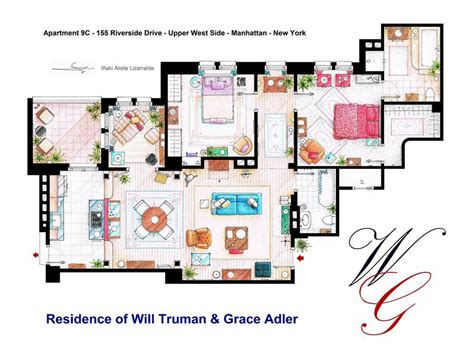 layout of seinfeld apartment artist sketches the floor plans of popular tv homes