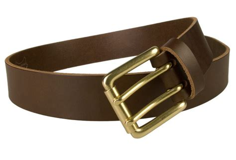 brass prong leather belt brown open view