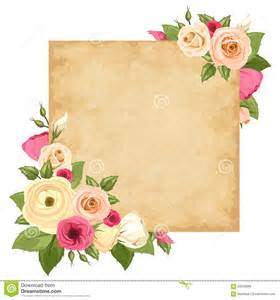 parchment card with pink and orange roses lisianthuses
