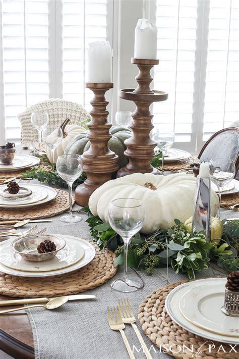decorations de table neutral thanksgiving table decor maison de pax