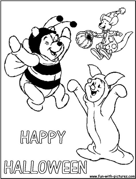 winniepooh happy halloween coloring page