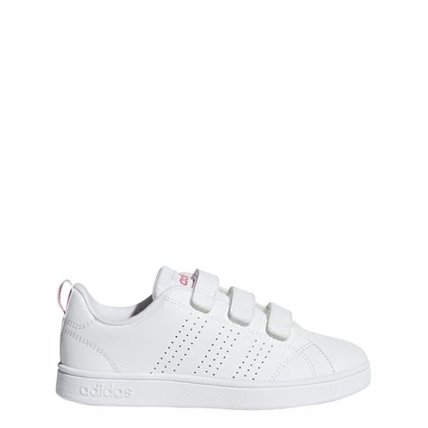 adidas vs advantage clean shoes in white pink excell sports uk