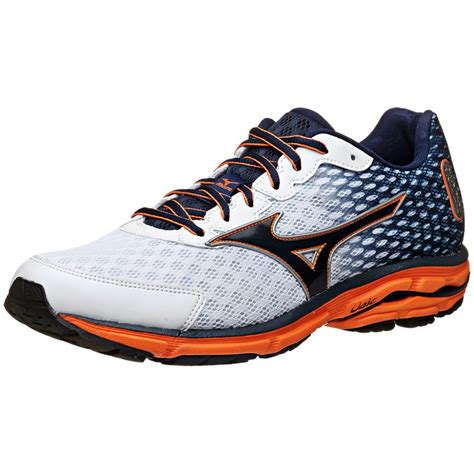 mizuno wave rider running shoes mizuno wave rider 18 mens running shoes in white blue at