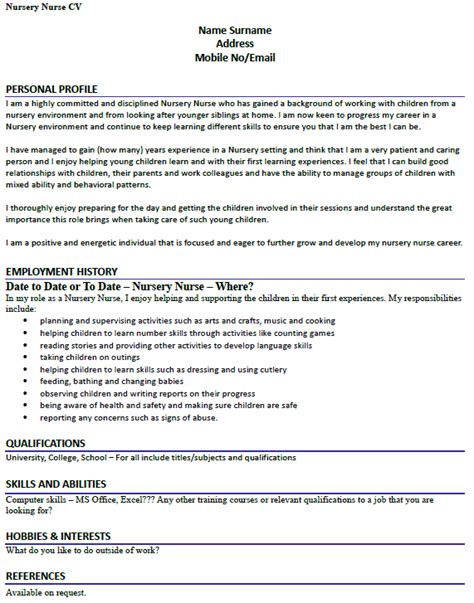 nursery description template fresh essays how to write a childcare cv