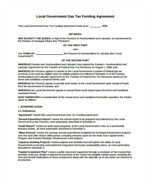 tax agreement template 8 funding agreement templates free sles exles