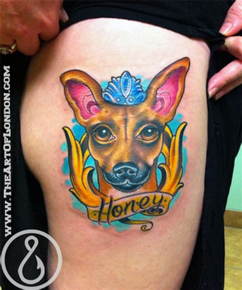 new school tattoo gold coast honey the chihuahua foxie dog tattoo by london reese