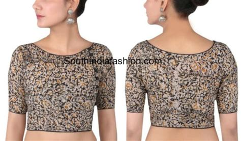 boat neck with potli buttons cotton saree blouse designs for stylish and trendy look