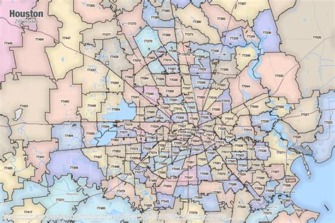 zip code map houston texas houston tx zip code map