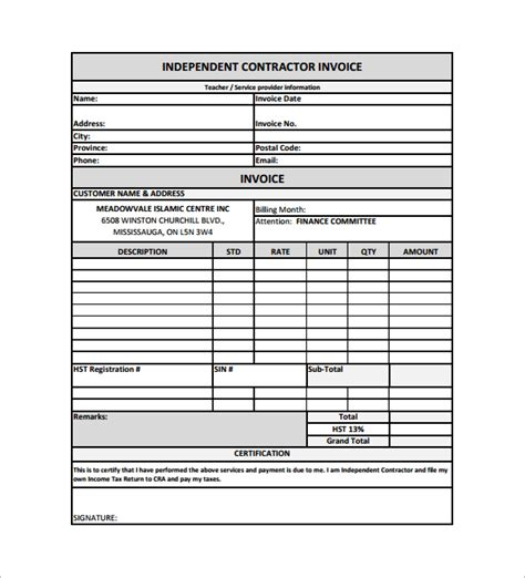 independent contractor invoice template with elegant proforma