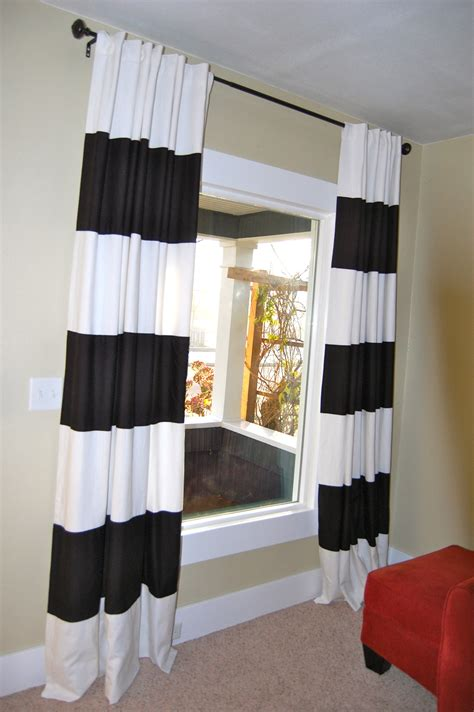 Diy black amp white striped curtains diy project aholic