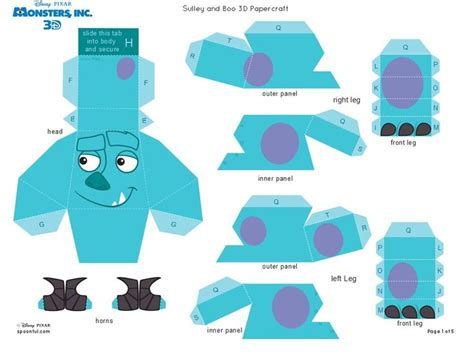 Papercraft Monsters - monsters inc 3d sully 1 of 5 3d paper