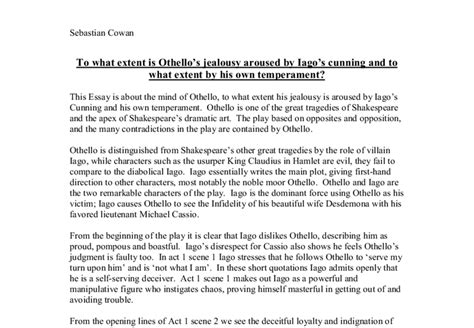 Essay Questions On Othello by Othello Essay Questions