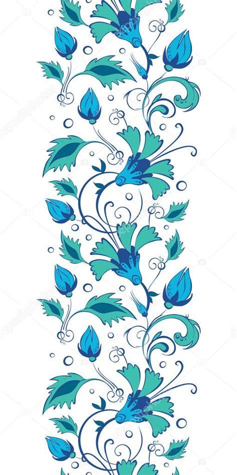 cenefas flores vector flores swirly verde azul cenefa vertical