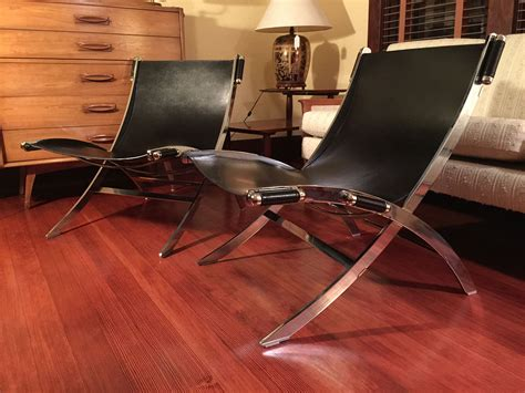 leather chrome sling chair sold leather chrome paul tuttle style sling chairs