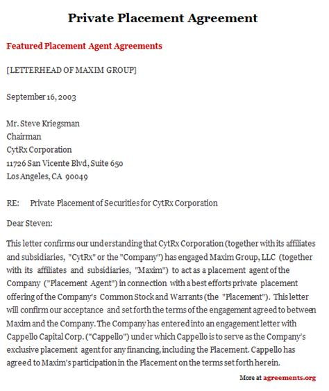 placement agreement template placement agreement sle placement