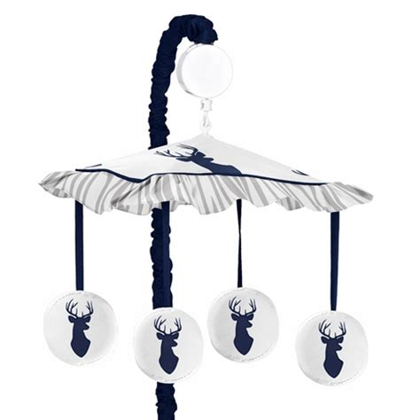 musical baby crib mobile navy and white woodland deer musical baby crib mobile by