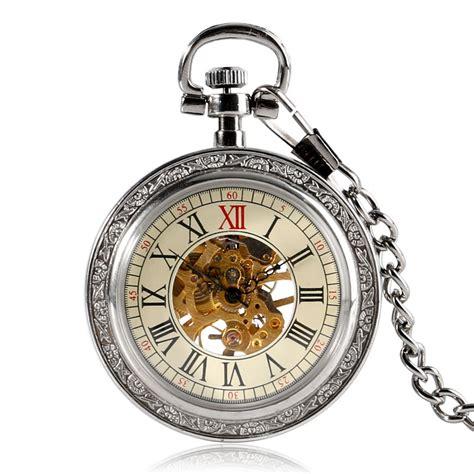 2016 Sale Fashion Vintage Mechanical Wind Pocke buy wholesale open gear clock from china open gear clock wholesalers aliexpress