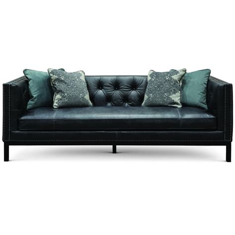 mid century modern slate black leather sofa st