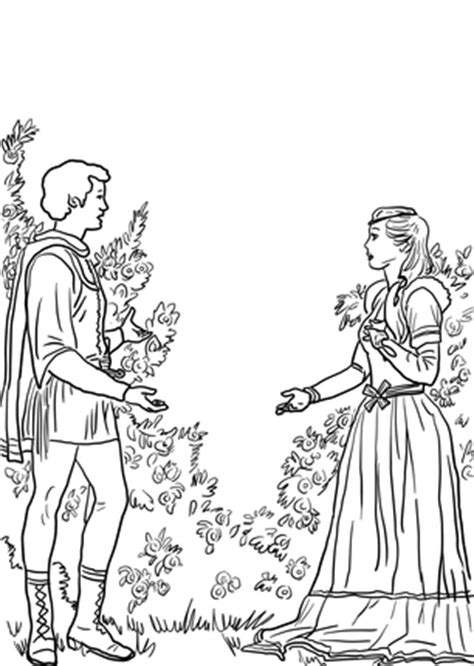Click Romeo and Juliet in the Garden Coloring page for