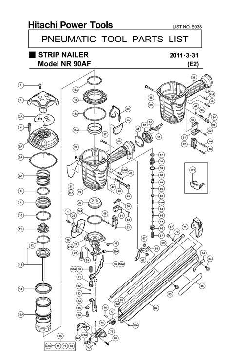 hitachi nail gun parts diagram buy hitachi nr90af 3 1 2 inch wire weld framing