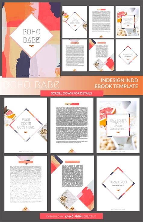 Layout Presentation Indesign | boho babe indesign ebook template by coral antler creative