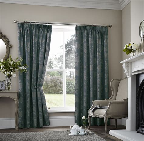 Teal Floral Curtains Floral Two Tone Teal Thermal Block Out Pencil Pleat Lined Curtain 8 Sizes Ebay