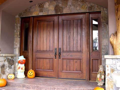 house finishing designs furniture double rustic exterior entrance door with solid dark varnished finishing