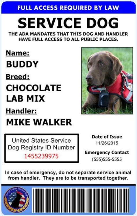 printable service dog id cards professional service dog id card ada rated comes with