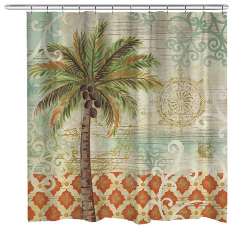 houzz shower curtains laural home spice palm shower curtain view in your