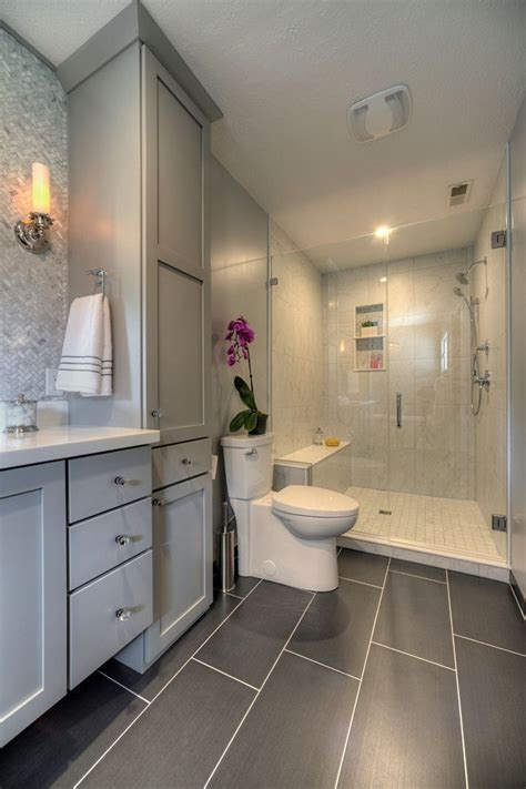gray glass mosaic tiled backsplash transitional bathroom master bathroom with glass walk in shower large gray