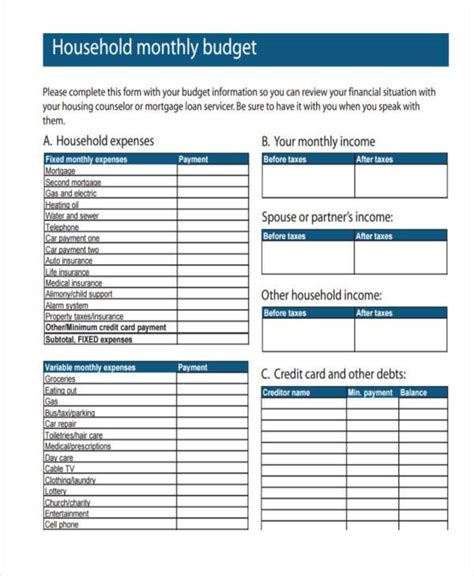 credit card bi weekly budget excel template free budget forms