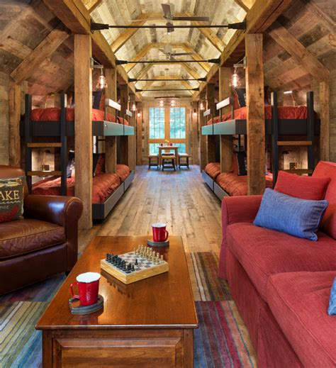northern wisconsin bunk house rustic family room