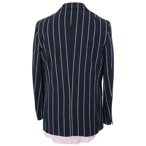 striped sleeve blazer grey navy gabicci vintage mens navy blue designer striped jacket button up smart blazer ebay