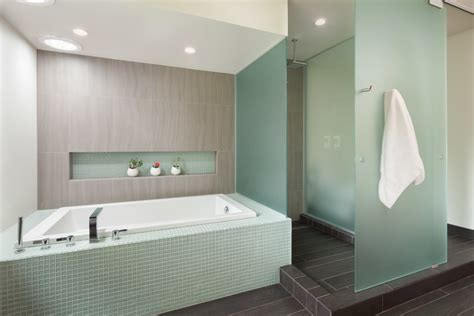 frosted glass tile Bathroom Modern with accent tile dark