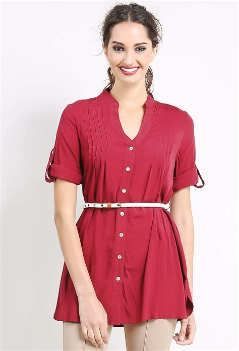 Dress Tunik Denim Free Belt Kemeja Dress Denim chiffon tunic top w belt shop dresses at papaya clothing