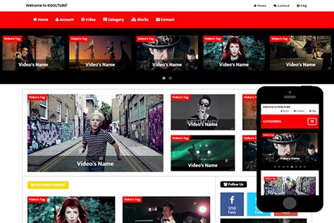 bootstrap themes and templates kooltube free bootstrap themes 365bootstrap
