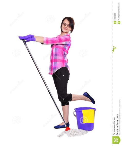 colorful bekitcha woman cleaning with mop cleaning woman dancing stock