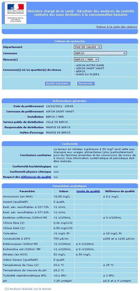 Analyse Eau Du Robinet analyse de l eau du robinet tous les r 233 sultats