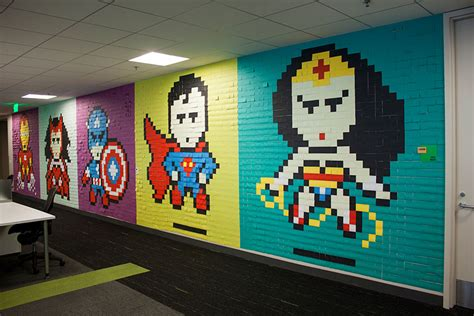 wallpaper dinding lego worker uses 8 024 post it notes to turn boring office