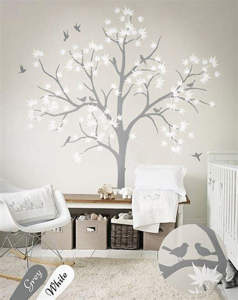 Large Wall Decals For Nursery Large Nursery Wall Decoration White Tree Wall Decals Nursery