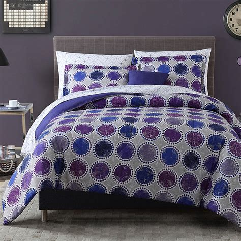 8pc complete comforter bedding set circles dots blue