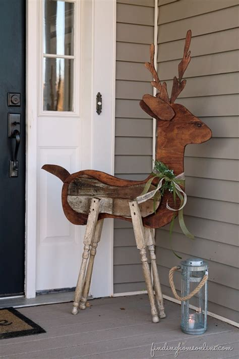 Wood Decorations For Home by Outdoor Christmas Decorating Reclaimed Wood Reindeer