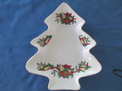 christmas tree candy dish vintage tree dish trimmed in gold with fruit