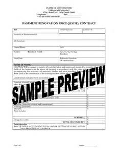 renovation contract template canada basement renovation price quote contract forms