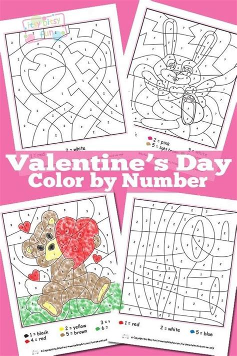 valentines color by number valentines day color by numbers worksheets worksheets