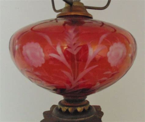 Ruby Glass L by Bohemian Ruby Glass L Acid Etched Floral